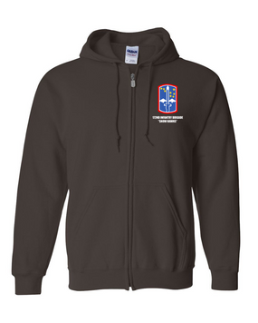 "172nd Infantry Brigade ""Snow Hawks""  Embroidered Hooded Sweatshirt with Zipper"