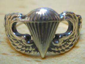 US Army Ladies Basic Parachutist Sterling Silver Ring