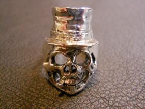 Top Hat Skull Sterling Silver Ring