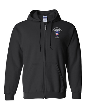11th Airborne Division Embroidered Hooded Sweatshirt with Zipper