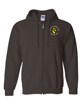 1st Cavalry Division (Airborne) (C)  Embroidered Hooded Sweatshirt with Zipper