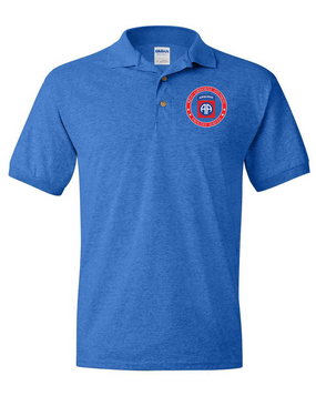 82nd Airborne Division  -Proudly Served- Embroidered Cotton Polo Shirt