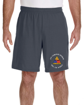 2nd Armored Division Embroidered Gym Shorts