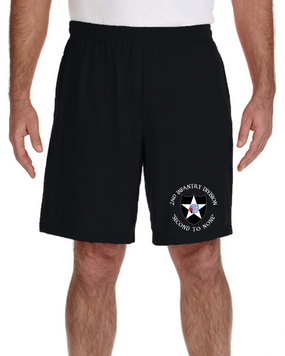 2nd Infantry Division Embroidered Gym Shorts