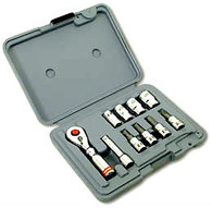 CruzTools MiniSet Metric 1/4 drive Socket Set, Mini Ratchet