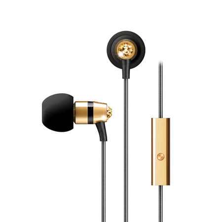 Crystal In-Ear Headphones with Microphone Made with Swarovski® Crystals (Gold)