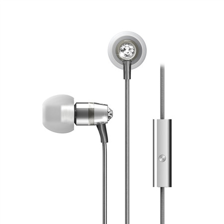 Crystal In-Ear Headphones with Microphone Made with Swarovski® Crystals (Silver)