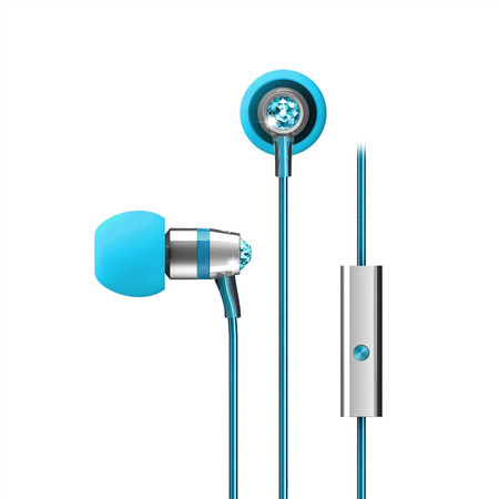 Crystal In-Ear Headphones with Microphone Made with Swarovski® Crystals (Turquoise)