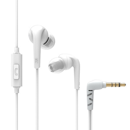 RX18P Comfort-Fit In-Ear Headphones with Enhanced Bass and Inline Microphone (White)