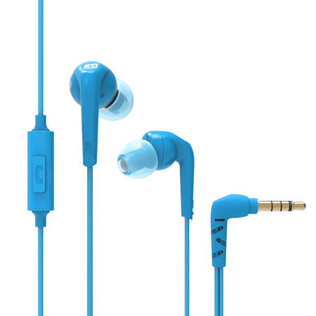 RX18P Comfort-Fit In-Ear Headphones with Enhanced Bass and Inline Microphone (Blue)