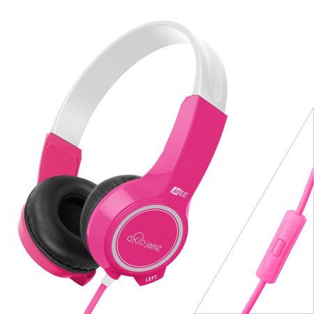 KidJamz KJ25P Safe Listening Headphones for Kids with Volume-Limiting Technology and Built-In Microphone and Remote (Pink)