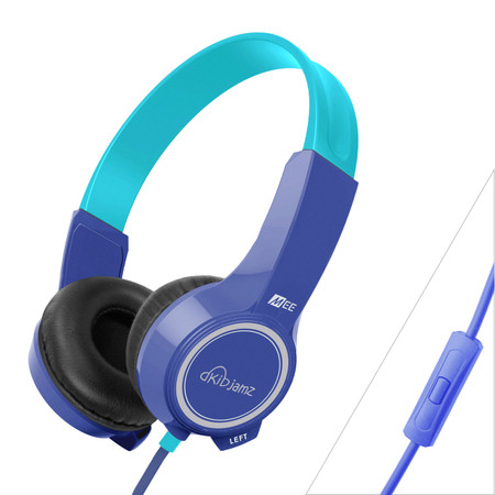 KidJamz KJ25P Safe Listening Headphones for Kids with Volume-Limiting Technology and Built-In Microphone and Remote (Blue)