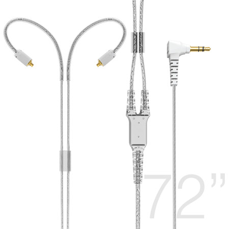 "MMCX Extended-Length Stereo Audio Cable with Memory Wire Earhooks for M7 PRO and Other In-Ear Headphones  (72"", Clear)"