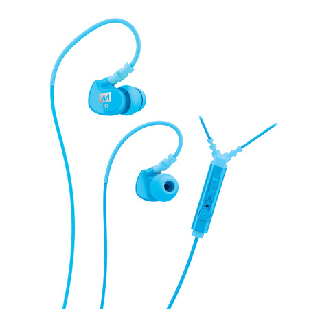 M6P Memory Wire In-Ear Headphones with Microphone, Remote, and Universal Volume Control (Teal)