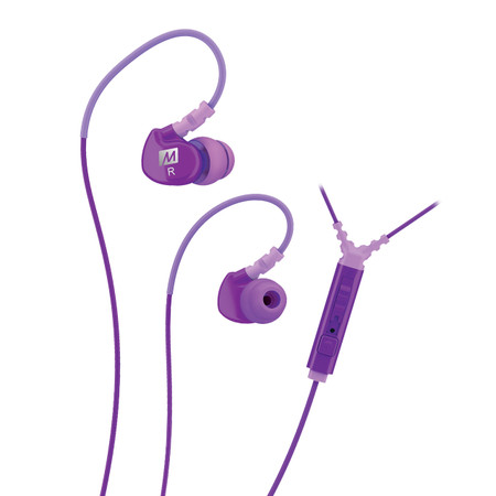 M6P Memory Wire In-Ear Headphones with Microphone, Remote, and Universal Volume Control (Purple)