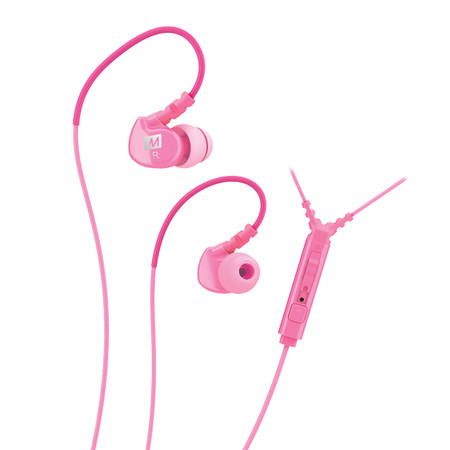 M6P Memory Wire In-Ear Headphones with Microphone, Remote, and Universal Volume Control (Pink)