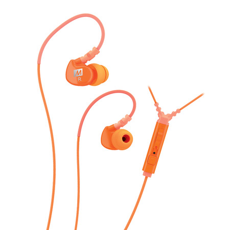 M6P Memory Wire In-Ear Headphones with Microphone, Remote, and Universal Volume Control (Orange)
