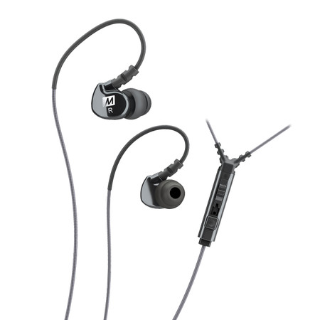 M6P Memory Wire In-Ear Headphones with Microphone, Remote, and Universal Volume Control (Black)