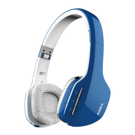 Rumble AF80 Enhanced-Bass Bluetooth Wireless Stereo Headphones with Headset Functionality (Blue)