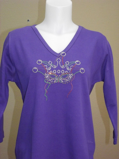 Mardi Gras Mask Knit Top