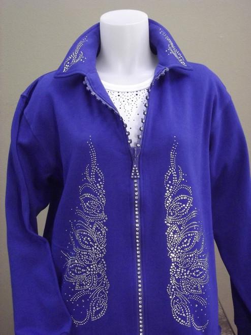 Royal Blue Crystal Zipper Jacket