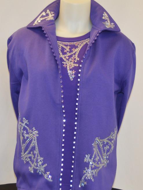 Purple Crystal Zipper Jacket