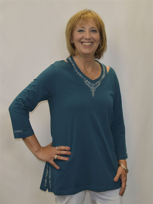 Necklace Long Tunic-Teal