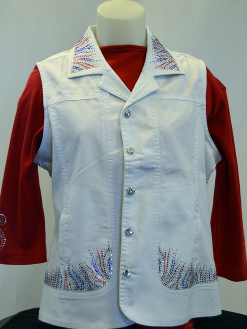 Red, White & Blue White Denim Vest