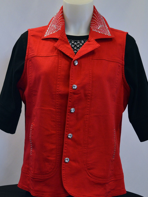 Red Denim Vest