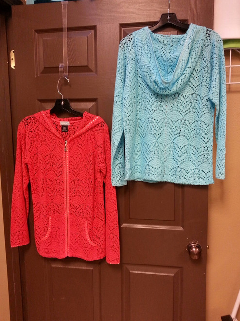 Lace jacket.  Cotton and nylon, front zip with hood and front pockets.  Stone embellishment on zipper, hood, pockets and sleeve.  Colors shown:  Aqua and Coral.  Also available in black and creamy white.  Sizes small, medium, large and extra large.