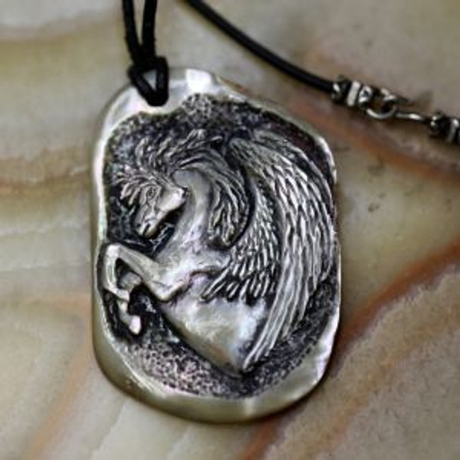 "Paul Grussenmeyer carved PEGASUS on a nice nature-polished piece of red abalone shell, hung from a 17.5"" black Greek leather cord with an aged sterling silver clasp"