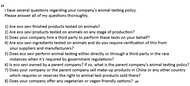 Question about our animal testing policy!
