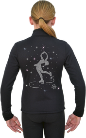ChloeNoel Figure Skating Outfit - P11 Pants and J11 Solid Polar Fleece Fitted Jacket w/ Spinning Skater Crystals Combination - 15% off