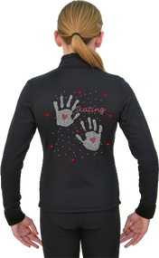 ChloeNoel Figure Skating Outfit - P11 Pants and J11 Solid Polar Fleece Fitted Jacket w/ Hand Prints Crystals Combination - 15% off