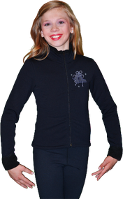 ChloeNoel Figure Skating Outfit - P11 Pants and J11 Solid Polar Fleece Fitted Jacket w/ Mini Blue Ribbon Crystals Combination