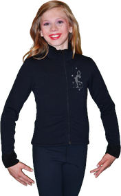 ChloeNoel Figure Skating Outfit - P11 Pants and J11 Solid Polar Fleece Fitted Jacket w/ Mini Lay-Back Skater Crystals Combination