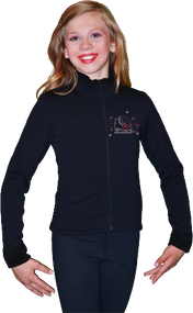 ChloeNoel Figure Skating Outfit - P11 Pants and J11 Solid Polar Fleece Fitted Jacket w/ Skate/Fuchsia Snowflakes Crystals Combination