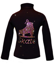"Black ice Skating Jacket with Vitrail ""Skate"" rhinestone applique"