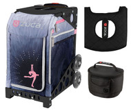 Zuca Sport Bag - Ice Dreamz Lux with Gift Lunchbox and Seat Cover (Black Non-Flashing Wheels  Frame)