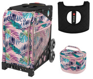 Zuca Sport Bag - Pink Oasis  with Gift Lunchbox and Seat Cover (Black Frame)