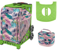 Zuca Sport Bag - Pink Oasis  with Gift Lunchbox and Seat Cover (Green Frame)