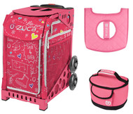 Zuca Sport Bag - Pink SK8 with Gift Lunchbox and Seat Cover (Pink Frame)