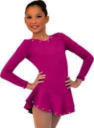 ChloeNoel DLF38 Long Sleeve Fleece Dress AB (Magenta)