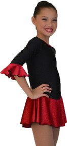 ChloeNoel DLS18 3/4Inch Sleeve Fleece with Sparkle Dress (Sparkle Red) (Closeout)