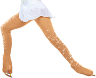 ChloeNoel Over the Boot Ice Skating Tights 8832 w/ Crys. on 2 thighs