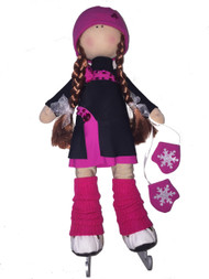 "Icedress Doll-skater in ""Lasso"" dress (Fuchsia)"