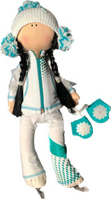 "Icedress Doll-skater in ""Euler"" outfit (White and Mint)"