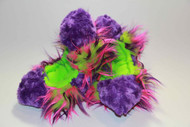 Crazy Fur Soakers CF09P - Purple Fuzzy Fur with Purple, Lime and Hot Pink