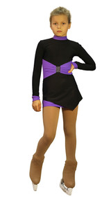 IceDress Figure Skating Outfit - Thermal - Oriental-2 (Black and Purple)