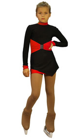IceDress Figure Skating Outfit - Thermal - Oriental-2 (Black and Red)